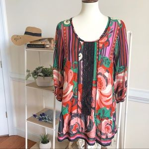 Anthropologie Odille bright floral tunic silk top
